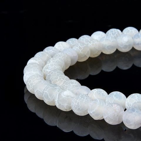White Frosted Matte Agate Gemstone Beads Round