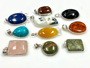 Sterling Silver Gemstone Pendant Lot 10 pcs
