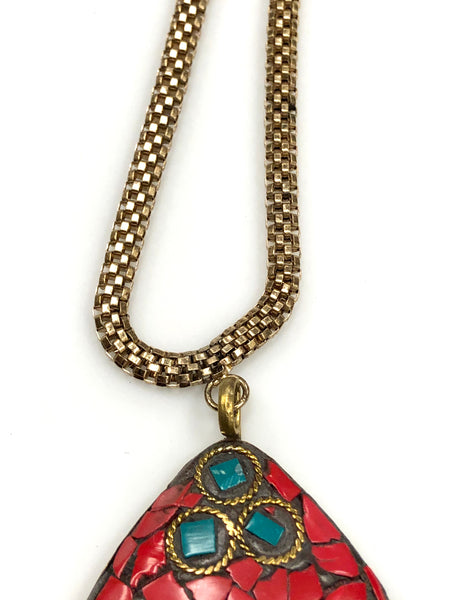 Coral and Turquoise Boho Tibetan Pendant Necklace