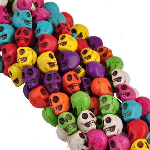 Multi-Color Turquoise Skull Head Beads, Round Shape Beads, Turquoise Skull Gemstone Beads
