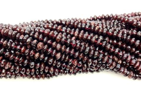 Natural Garnet Beads, Smooth Indian Beads, Roundelle Shape Garnet Stone Beads