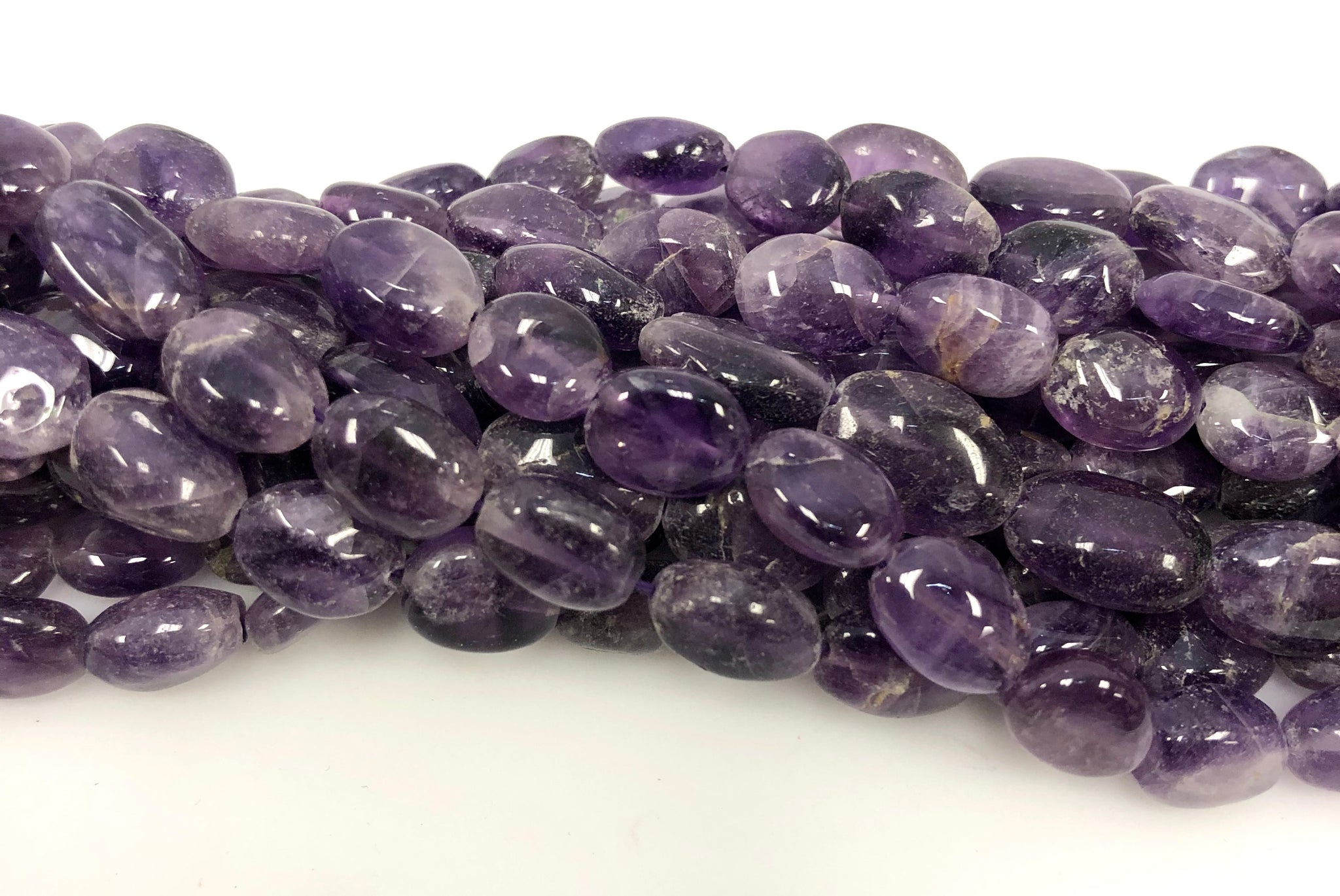Natural Amethyst Beads, Oval Shape Beads, Smooth Gemstone Beads
