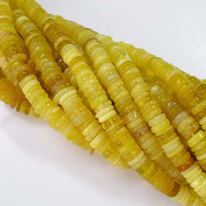 Natural Yellow Opal Gemstone Beads, 6-7mm Heishi Rondelle Shape Beads