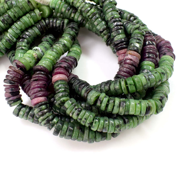 Natural Ruby Zoisite Gemstone Beads, Heishi Rondelle Shape 6-7mm Beads