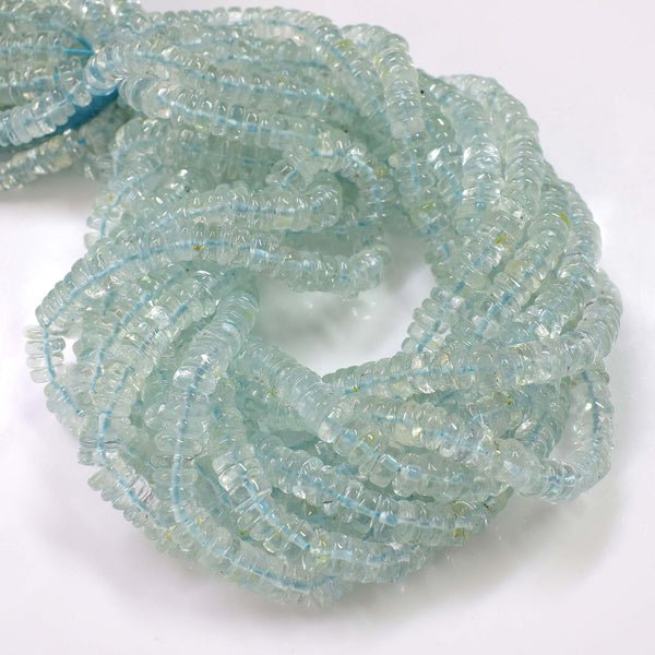 Natural Blue Topaz Gemstone Beads, 6-7mm Heishi Rondelle Beads