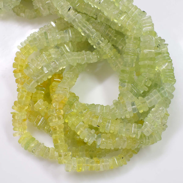 Natural Prehnite Gemstone Beads, 6-7mm Heishi Square Shape Beads