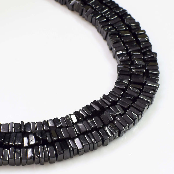 Natural Black Spinel Gemstone Beads, 6-7mm Heishi Square Shape Beads