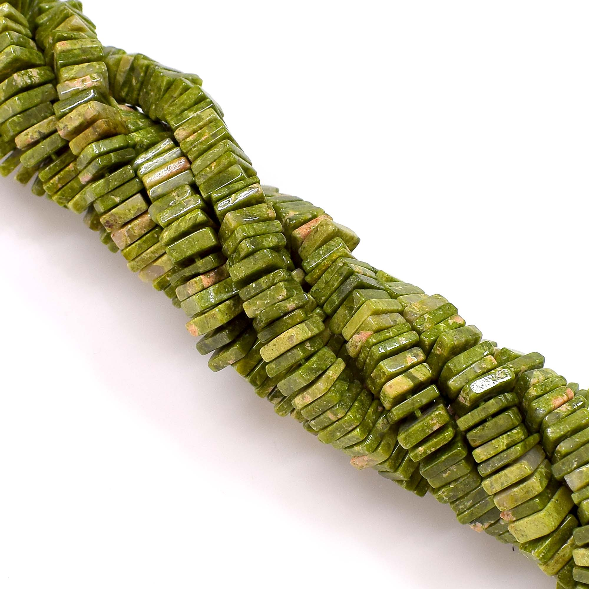 Natural Unakite Gemstone Beads 6-7mm Heishi Square Shape Beads