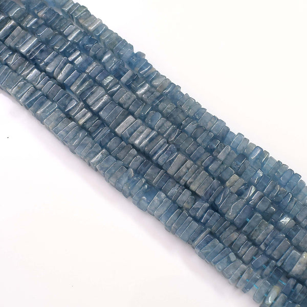 Natural Aquamarine Gemstone Beads 6-7mm Heishi Square Shape Beads