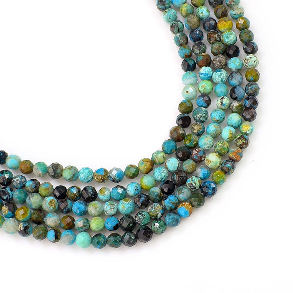 Natural Turquoise Beads / Faceted Heishi Round Shape Turquoise / 3-4mm Gemstone Beads
