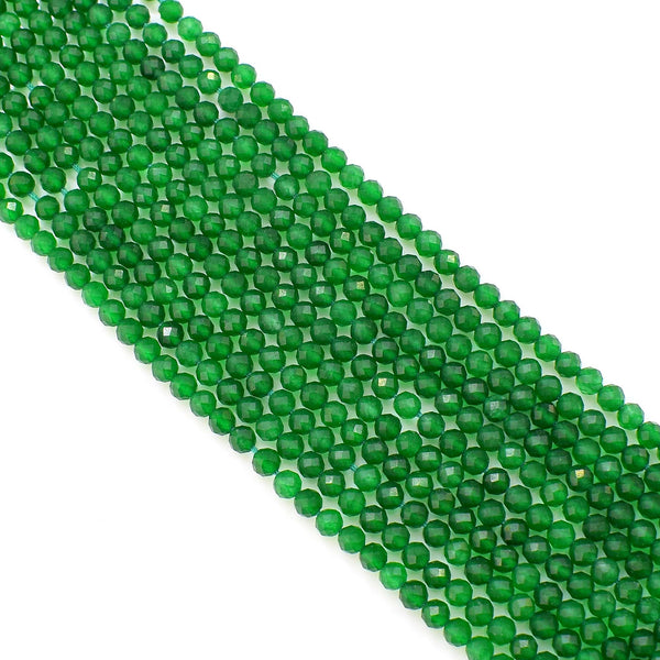 Natural Green Onyx Beads / Faceted Round Shape Onyx Beads / 3-4mm Gemstone Beads