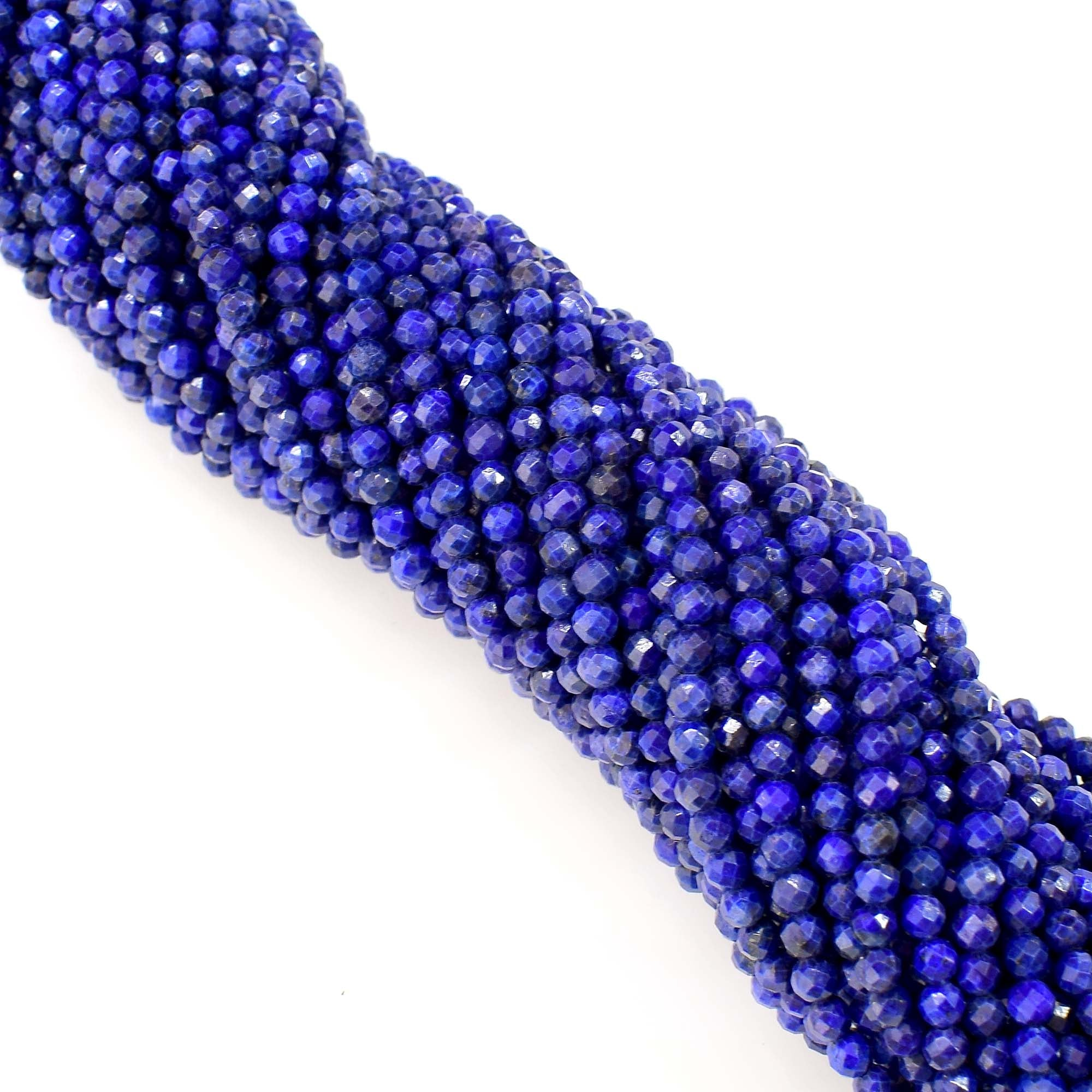 Natural Lapis Lazuli Beads / Round Shape Faceted Lapis / 3-4mm Lapis Gemstone Beads