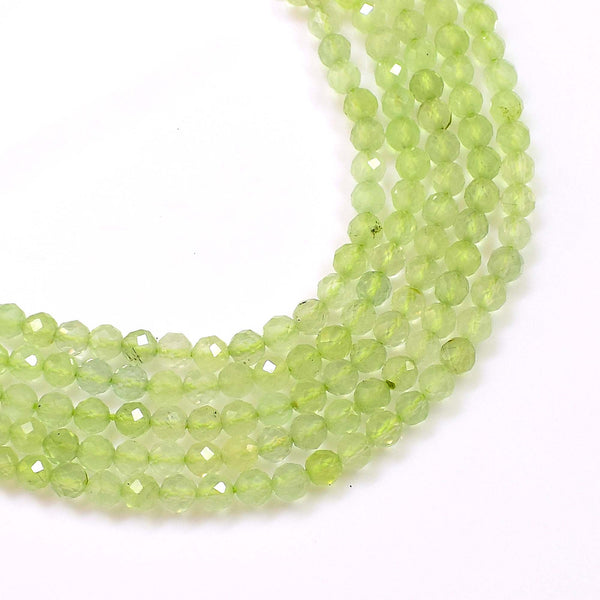 Natural Prehnite Beads / Round Shape Prehnite Beads / 3-4mm Faceted Prehnite Gemstone Beads