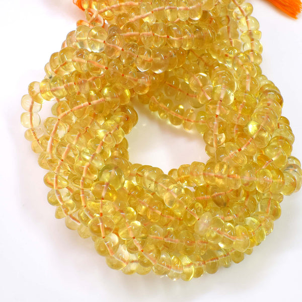 Natural Citrine Beads / Faceted Citrine Gemstone Beads / Rondelle Shape Citrine Beads