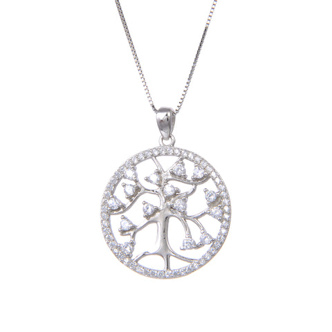 92.5 Sterling Silver Necklace with Tree of Life CZ Cubic Zirconia Round Pendant