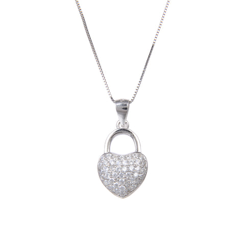 92.5 Sterling Silver Necklace Heart Shaped CZ Cubic Zirconia Pendant 18 Inch Long