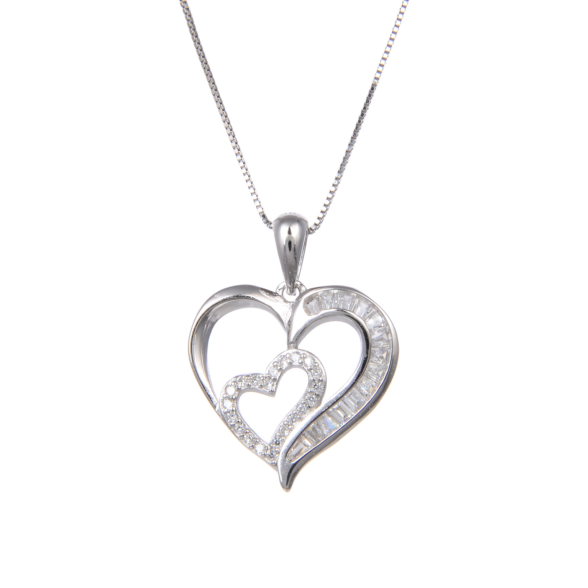 92.5 Sterling Silver Necklace with Heart in Heart Shaped CZ Cubic Zirconia Pendant