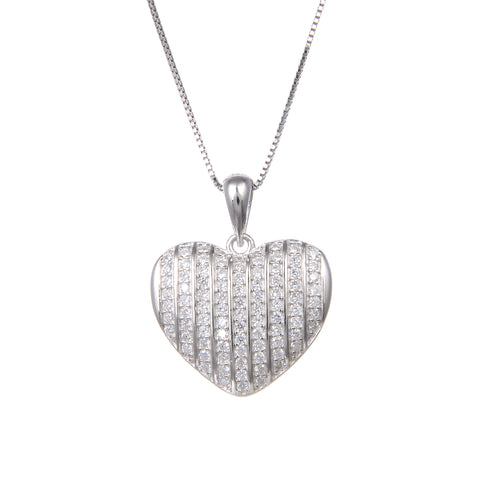 92.5 Sterling Silver Necklace with CZ Cubic Zirconia Heart Shape Pendant