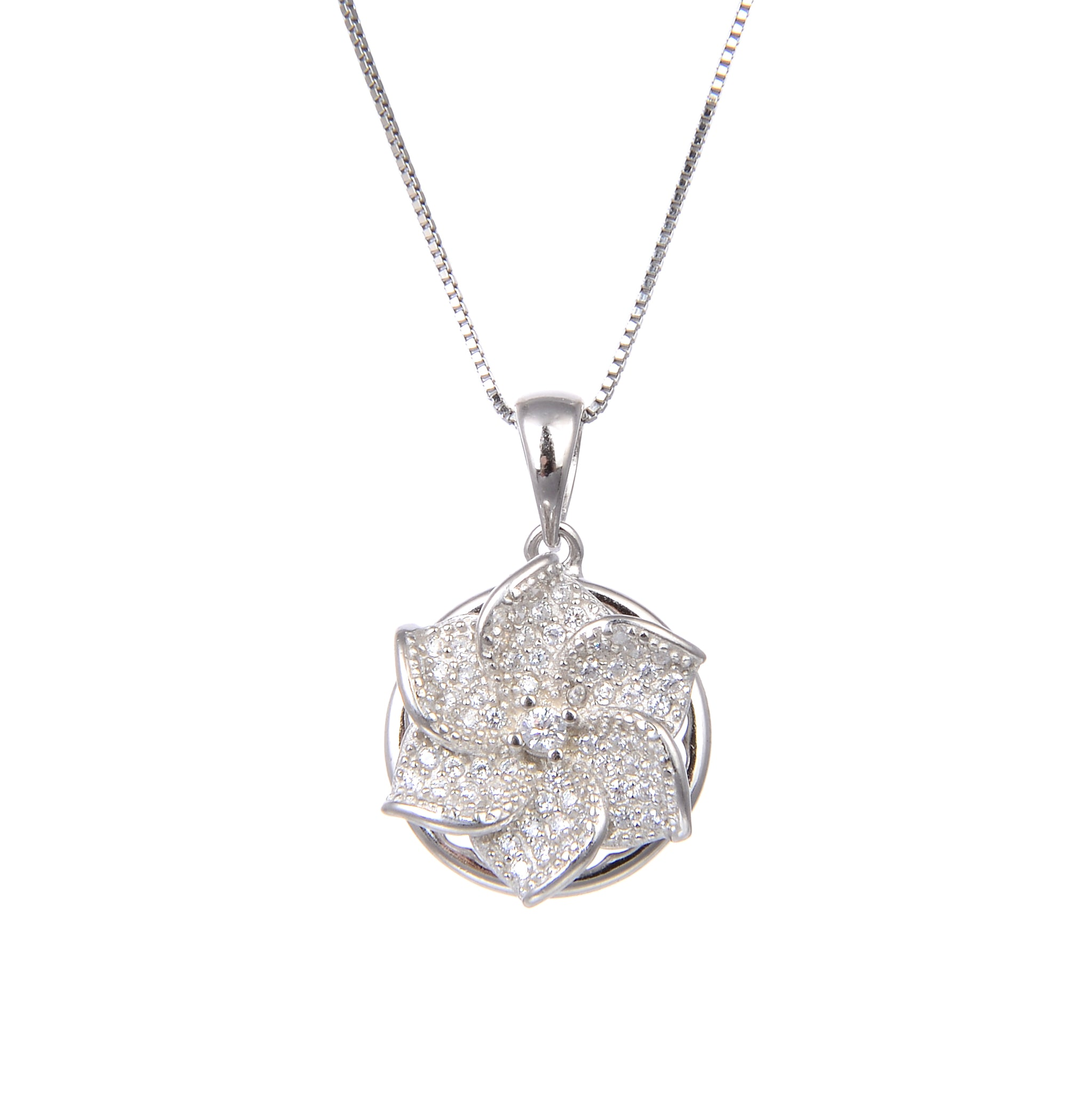 92.5 Sterling Silver Necklace With CZ Cubic Zirconia Spin Flower Shape Pendant