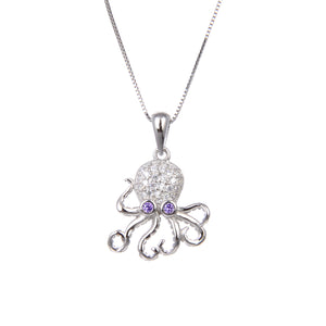 92.5 Sterling Silver Necklace With CZ Cubic Zirconia Octopus Shape Pendant