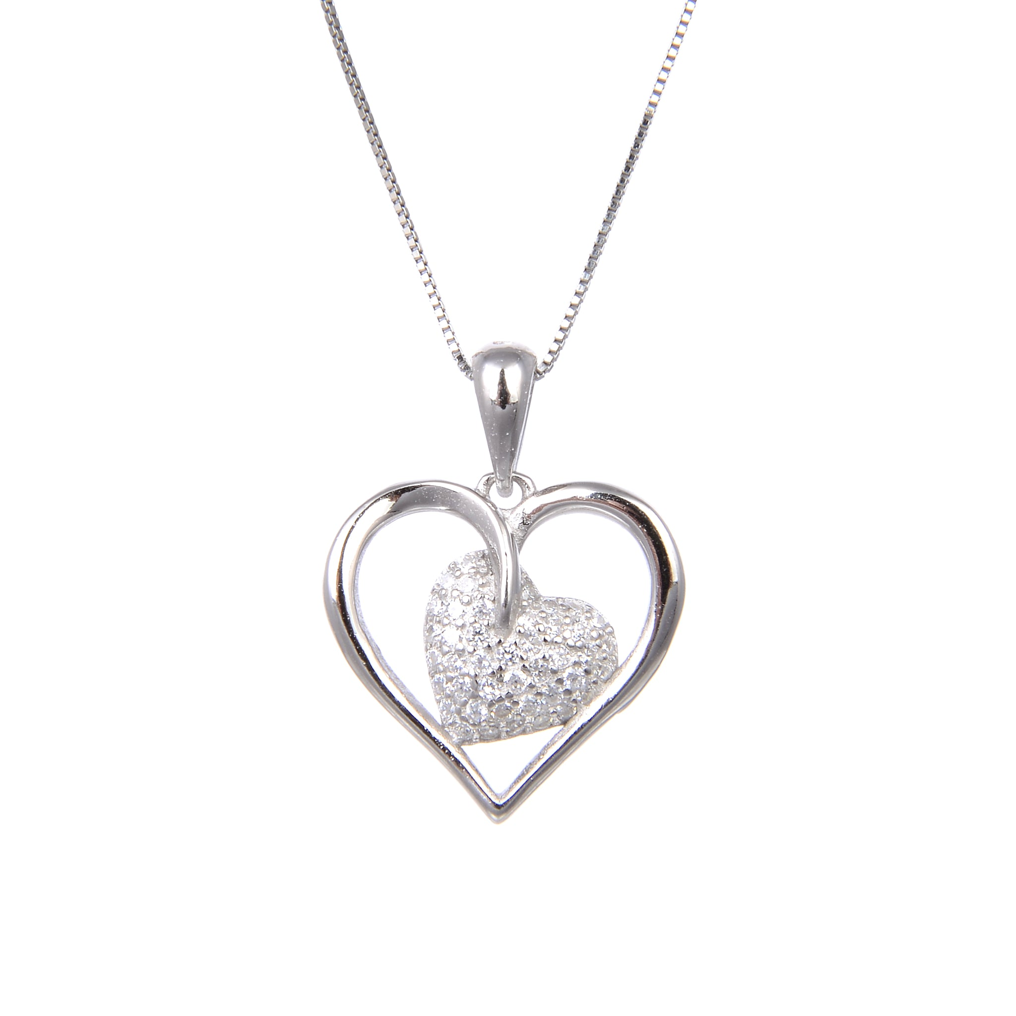 92.5 Sterling Silver Necklace With CZ Cubic Zirconia Love Heart Shape Pendant