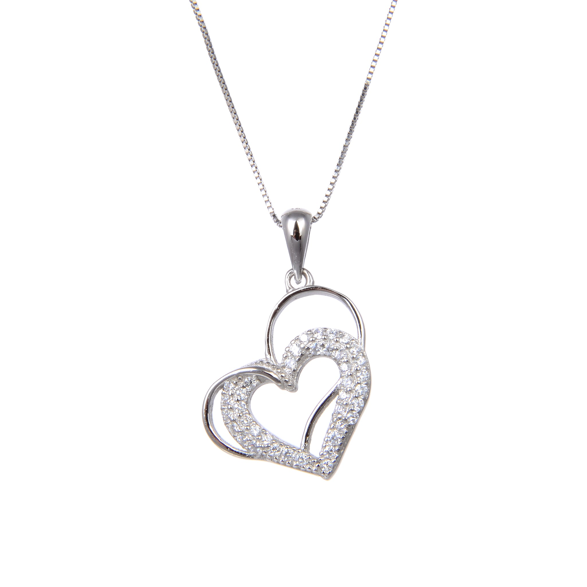 92.5 Sterling Silver Necklace With CZ Cubic Zirconia Double Heart Shape Pendant