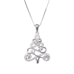 92.5 Sterling Silver Necklace With CZ Cubic Zirconia Christmas Tree Shape Pendant