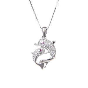 92.5 Sterling Silver CZ Cubic Zirconia Dolphin Fish Shape Pendant with Sterling Silver Necklace