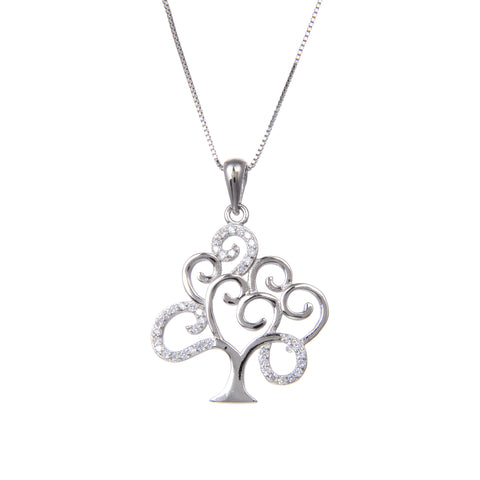 92.5 Sterling Silver Necklace Chain With CZ Cubic Zirconia Christmas Tree Shape Pendant