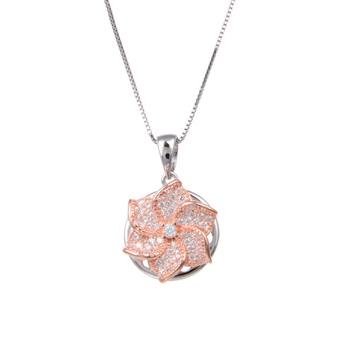 92.5 Sterling Silver Rose Gold Plated Spin Flower Shape CZ Cubic Zirconia Pendant with Sterling Silver Necklace Chain