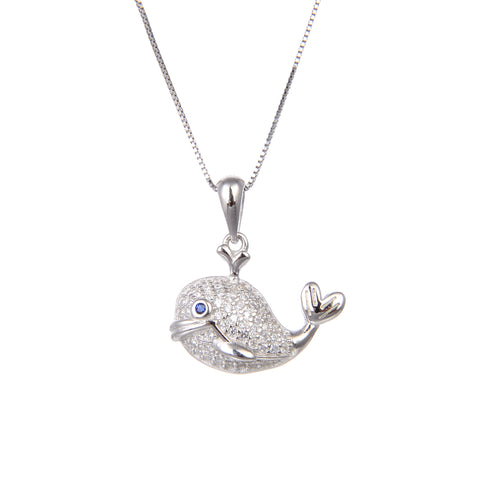 92.5 Sterling Silver CZ Cubic Zirconia Fish Shape Pendant with Sterling Silver Necklace Chain