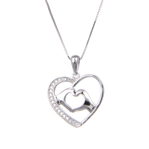 92.5 Sterling Silver CZ Cubic Zirconia Love Heart Shape Pendant with Sterling Silver Necklace Chain