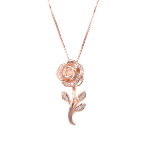 92.5 Sterling Silver Necklace Chain With CZ Cubic Zirconia Rose Gold Rose Flower Shape Pendant