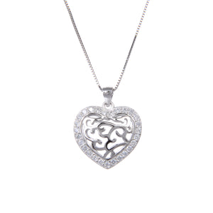 92.5 Sterling Silver Heart Shape CZ Cubic Zirconia Pendant with Sterling Silver Necklace Chain