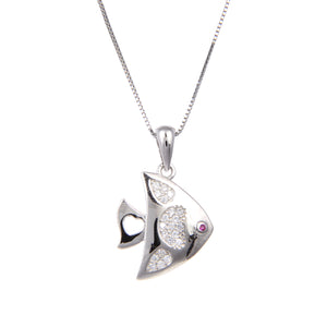 92.5 Sterling Silver Necklace Chain With CZ Cubic Zirconia Sterling Silver Fish Shape Pendant