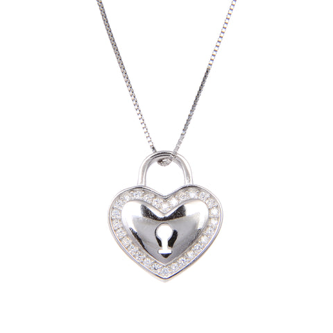 92.5 Sterling Silver Lock Heart Shape CZ Cubic Zirconia Pendant with Sterling Silver Necklace Chain