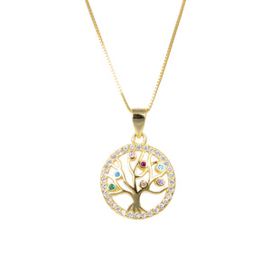 92.5 Sterling Silver Necklace Chain With CZ Cubic Zirconia Sterling Silver Gold Plated Tree of Life Shape Pendant