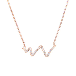 92.5 Sterling Silver Necklace Chain With CZ Cubic Zirconia Life Line Waves Shape Sterling Silver Pendant