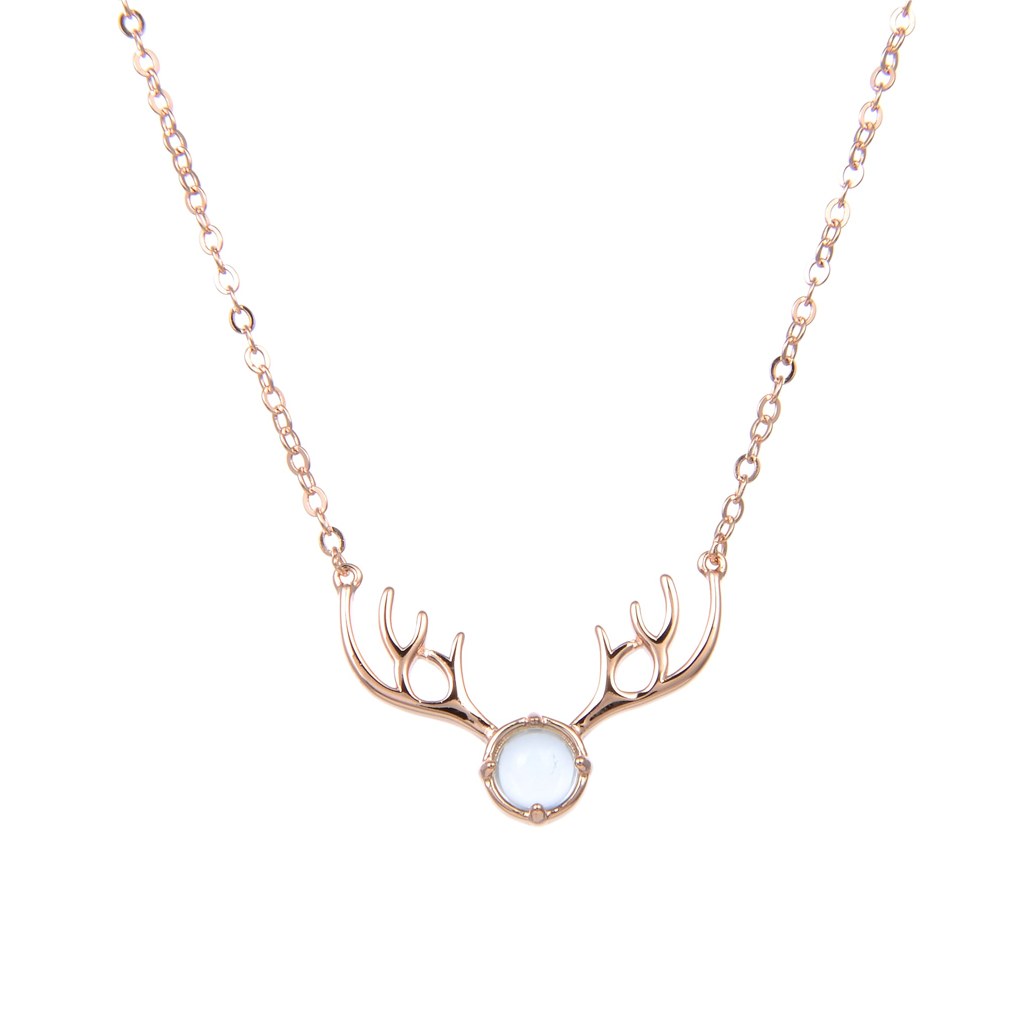 92.5 Sterling Silver CZ Cubic Zirconia Rose Gold Plated Horn Shape Pendant with Sterling Silver Necklace Chain