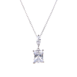 92.5 Sterling Silver Necklace Chain With CZ Cubic Zirconia Sterling Silver Emerald Cut Stud Pendant