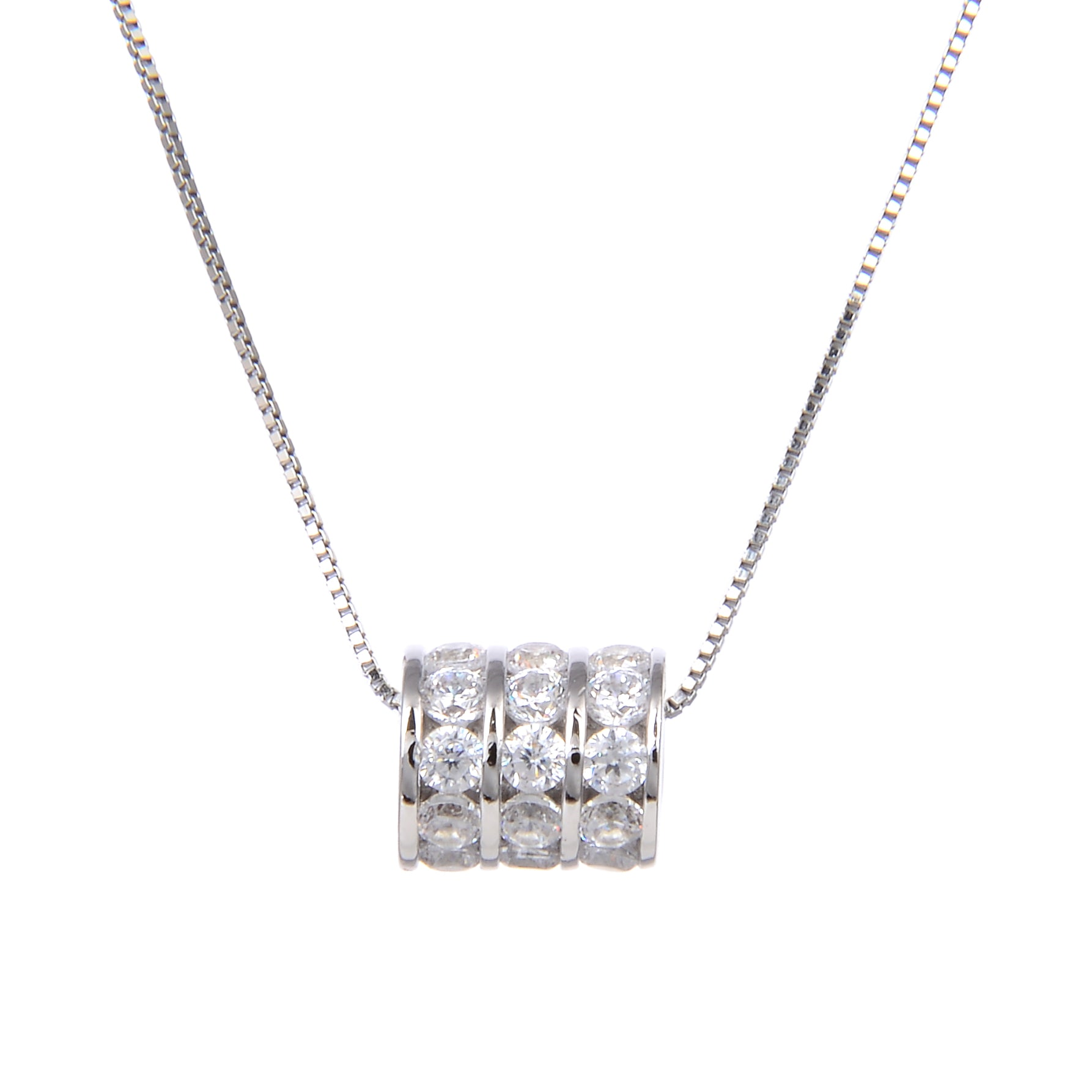 92.5 Sterling Silver CZ Cubic Zirconia Drum Shape Pendant with Sterling Silver Necklace Chain