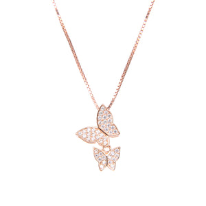 92.5 Sterling Silver Necklace Chain With CZ Cubic Zirconia Sterling Silver Rose Gold Plated Double Butterfly Shape Pendant
