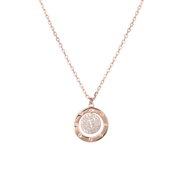 92.5 Sterling Silver Necklace Chain With CZ Cubic Zirconia Rose Gold Plated Double Ring Shape Sterling Silver Pendant