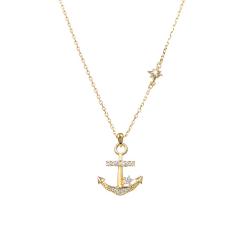 "92.5 Sterling Silver Gold Plated CZ Cubic Zirconia Anchor Shape Pendants With Sterling Silver Chain 18"" Long"