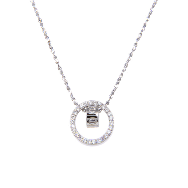 92.5 Sterling Silver CZ Cubic Zirconia Ring in Hoop Shape Pendants with Sterling Silver Necklace Chain