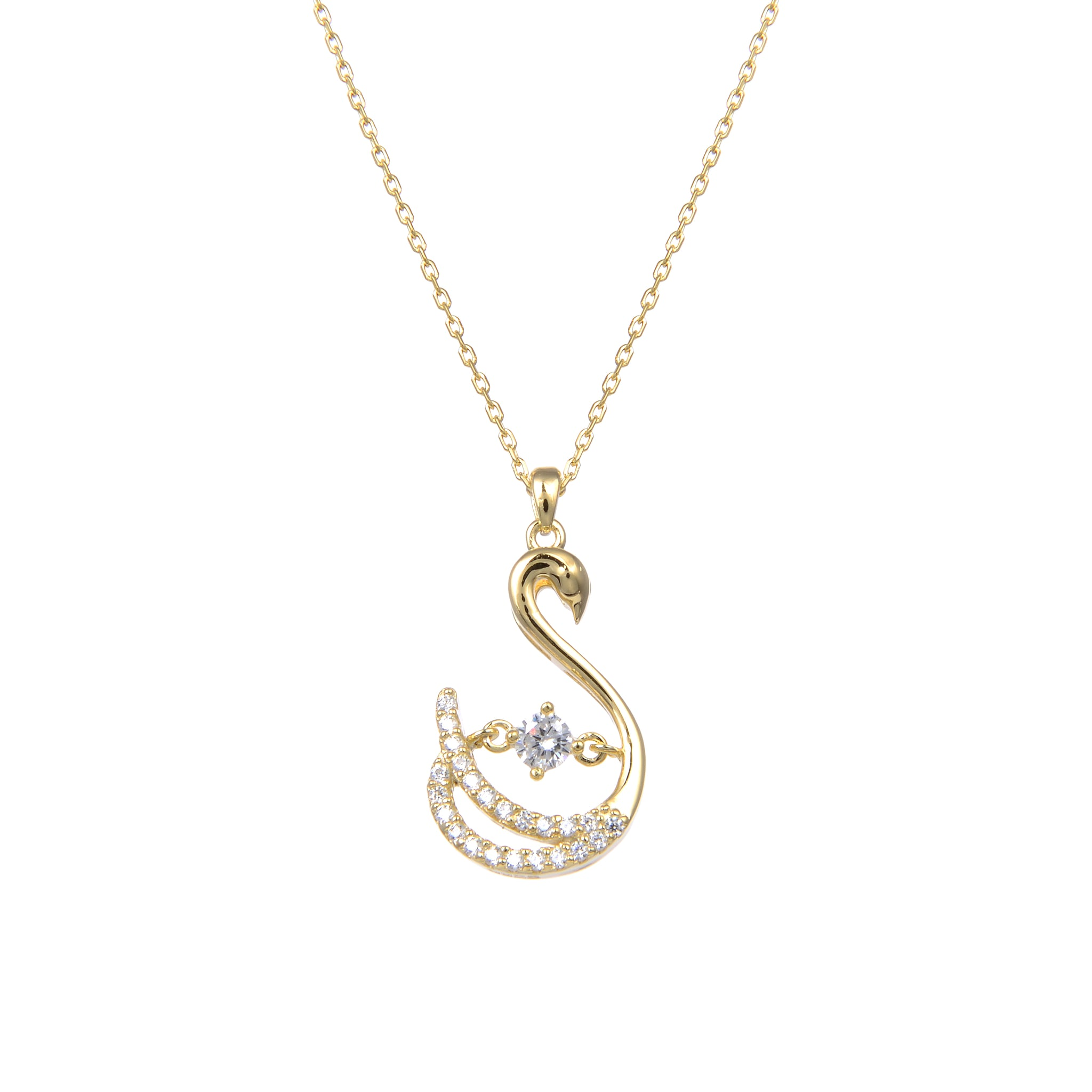 92.5 Sterling Silver CZ Cubic Zirconia Swan Shape Pendant with Sterling Silver Necklace Chain