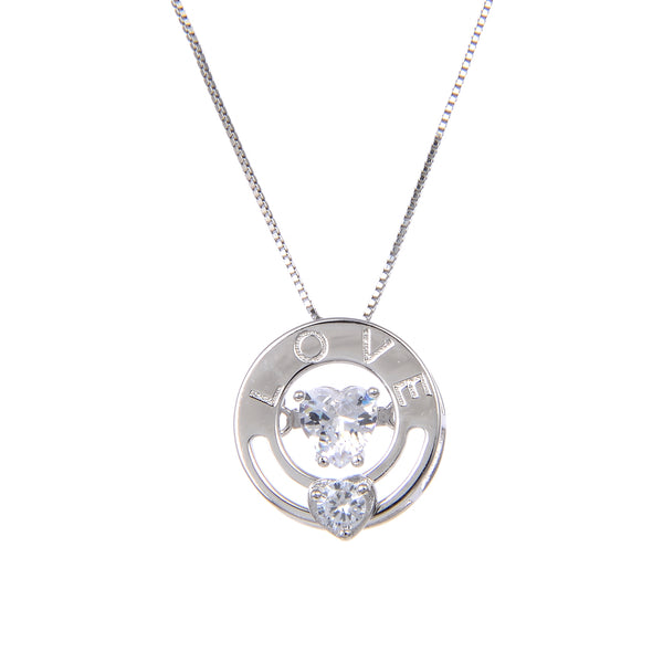 92.5 Sterling Silver CZ Cubic Zirconia Circle of Love Shape Pendant with Sterling Silver Necklace Chain