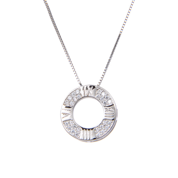 925 Sterling Silver Circle Clock Cubic Zircon CZ Pendant with Sterling Silver Necklace Chain 18""