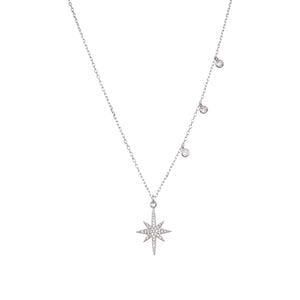 925 Sterling Silver Snowflake Star Cubic Zircon CZ Pendant with Sterling Silver Necklace Chain 18""