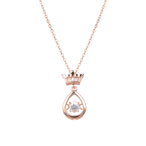 92.5 Sterling Silver CZ Cubic Zirconia Crown Teardrop Shape Pendant with Sterling Silver Necklace Chain